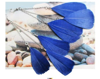 """Earring """"Trio of ultramarine blue feathers on light silver metal chains"""