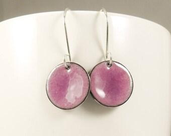 Mother's Day Pink Glass Enamel Earrings, Minimalist Earrings, Pink Enameled Copper, Vitreous Enamel, Glass Jewelry, Copper Enamel Earring