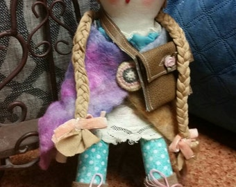 Sale! Reduced price! Rag doll. Soft art doll. Prim doll. Folk art . Chelsea. Child's toy.  Girl doll
