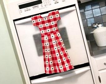 Homespun Star Kitchen Towel Dress, Hanging Dish Towel, Tea Towel, Patriotic Red, White & Blue Dishtowel Dress, Hostess Gift by Klosti