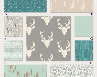 Boy Woodland Crib Bedding in Teal, Gray and Mint Crib Baby Bedding in Mod Deer Woodland, Spring Woods Collection