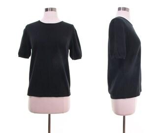 black knit tee, short sleeve sweater black knit sweater, cotton knit top, minimalist sweater s