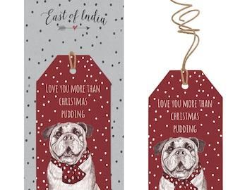 East of India Spotty Love You More Than Christmas Pudding Bulldog Tags x 6