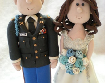 Military Wedding Cake Topper- Custom Made Bride and Groom in Army, Navy, Air Force Uniforms. Personalized Cake Topper.  Bridal shower gift.