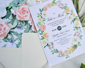 Printable Wedding Invitation Set, Floral Watercolor Wedding Invites, Outdoor Wedding, Wreath, Invitation Template, Blush, Greenery Wedding