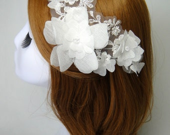 Bridal Hair Comb, Lace Headpiece, Swarovski Comb, Wedding Accessories, Flower, Modern, AGNES