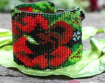 Mayan Red Flowers Bracelet