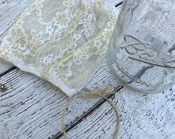 Judi Custom cream color Full Coverage Lace Mason Jar cover-Pint size