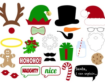 Christmas Photo Booth Props . Printable . Instant Download . DIY . Christmas Photo Booth . Christmas . Merry Christmas . Christmas Party