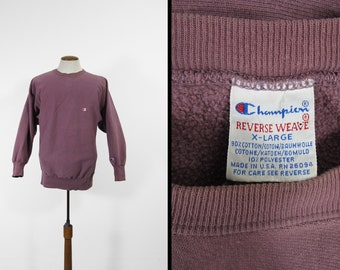 Vintage Champion Reverse Weave Sweatshirt Eggplant Purple Pullover - Size XL
