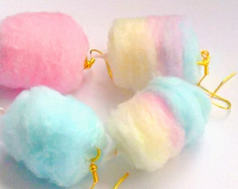 Cotton Candy Earrings, Miniature Food Jewelry, Inedible Jewelry, Junk Food Jewelry, Gifts for Foodies, Carnival Food Jewelry, Kawaii Jewelry