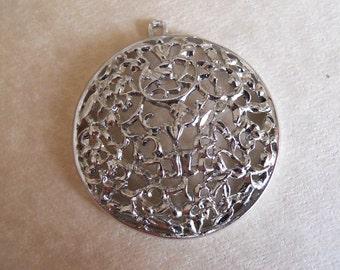 Vintage Silver Floral Pendant