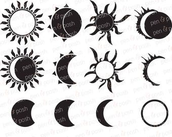 Solar Eclipse SVG - Eclipse SVG - 2017 Eclipse - Sun SVG - Silhouette  Sun and Moon  Dxf -   - Solar Eclipse 2017