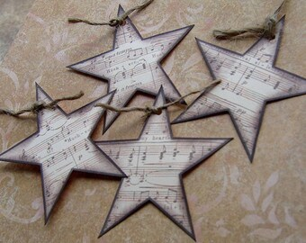 Sheet Music Star Embellishments / Tags - Set of 4 - for scrapbooking, cardmaking, ACEOs, ATCs, altered art