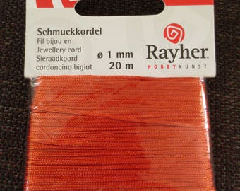Orange 1 mm thread for jewelry. 20 m - Rayher #89 473 34