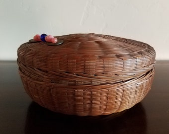 Large Round Wicker Sewing Basket
