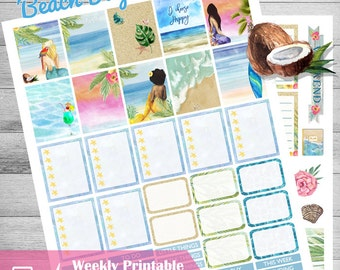 Mermaid stickers, Printable planner stickers, weekly planner kit, Mermaid planner stickers, Beach stickers, Travel, use with Erin Condren