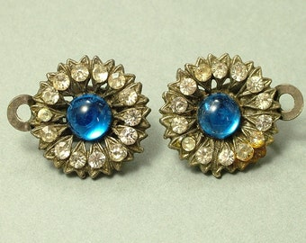 Vintage/ estate 1940s/ 50s silver tone, diamante rhinestone / paste and blue glass flower costume clip on earrings