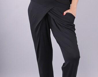 Pants, Woman Pants, Black long loose pants, Extravagant pants, Jersey pants, Long pants - UM-060-VL