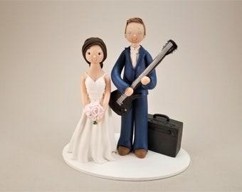 Bride & Groom with a Guitar Custom Made Wedding Cake Topper