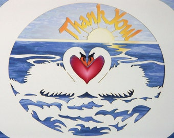 Intricately cut Swans Thank You Card with red heart