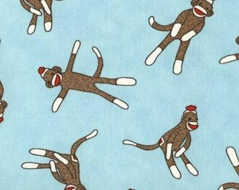 Sock Monkey weefsel door Erin Michael voor Moda, Pale Blue katoen Yardage