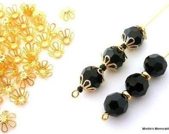 40 gold plated filigree beadcaps, 7mm flower shape, flexible