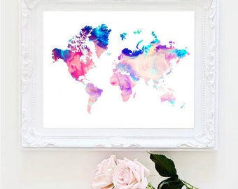 Printable Art Marble World Map Painting Map Art Print Room Decor  Typographic Print Decor Framed Quotes