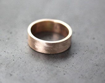 Men's Gold Wedding Band, 7mm Wide Brushed Flat 10k Recycled Yellow Gold Men's Wedding Ring Gold Ring -  Made in Your Size