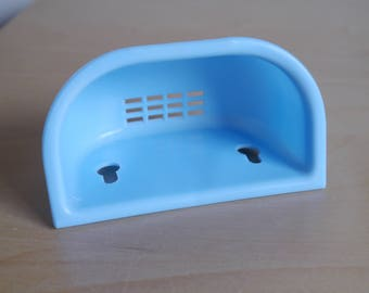 1940's or 1950's blue, wall mounted soap dish soap holder, kitchen, bathroom, cloakroom
