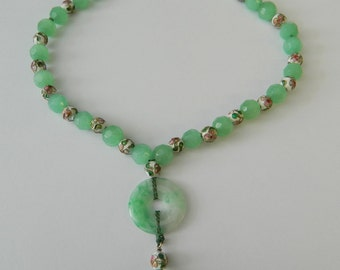 Natural Green Jade & Cloisonne Sterling Silver Bead Necklace