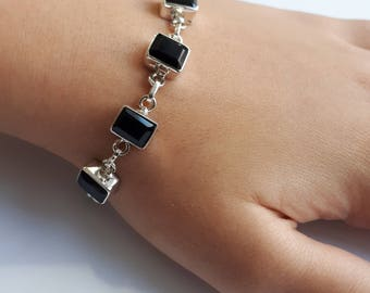 Black onyx bracelet set in 92.5 sterling silver