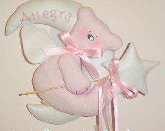 Bow birth teddy bear on the moon with name embroidered by hand-colors on request