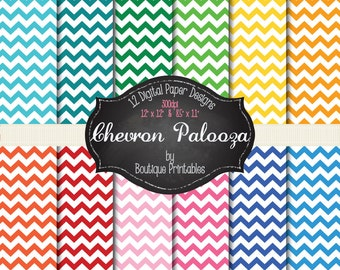 Chevronapalooza - Rainbow Chevron digital papers - 12x12 and 8.5x11 300 dpi