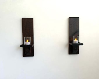 Rustic Wall Sconces, Wall Candle Sconces, Wood Candle Holders (Set of 2)