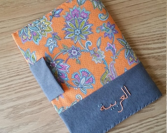 Reusable Notebook Cover - Grey with Orange Floral