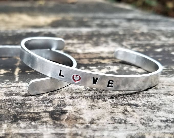 LOVE (with a red heart for the O): Hand Stamped Metal Cuff Bracelet, Aluminum
