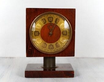 RESERVED Soviet clock VESNA Wood desk clock Mechanical clock Working Home decor Brown clock Rare clock