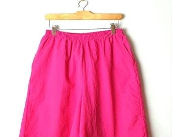 ON SALE Vintage Vivid Pink Flare easy  Shorts /W24-34*