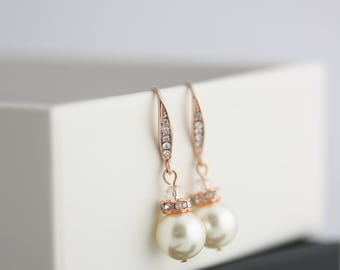 Bridal Pearl Earrings Simple Pearl Earrings Wedding Earrings Rose Gold Pearl Drop Earrings Wedding Jewlery Crystal Pearl Earring  SIMPLENEVE