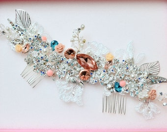 Swarovski crystal Peach Champagne Sapphire Blue, Coral and Silver Classic Gatsby Vintage rose Bridal Hair Comb Lace Vine Piece Slide
