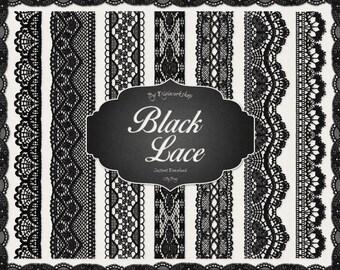 """Digital Lace Border Clip Art """"Black Lace Borders"""" clipart set with digital black lace border images"""