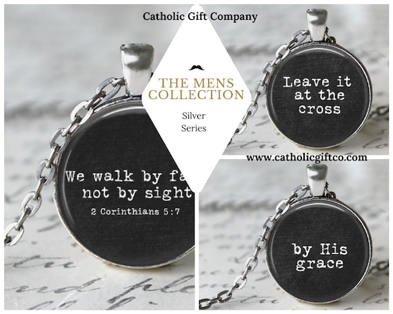 Mens Pendant Collection in silver  with 18 or  24 inch chain - Bible Verse Necklace for Men