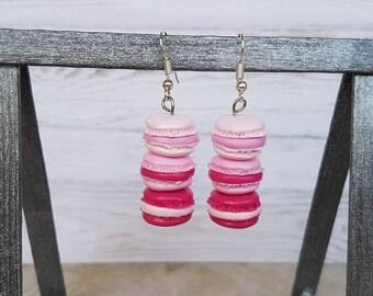 trio of pink macarons earrings