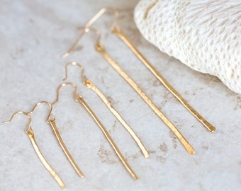 Gold Hammered Earrings, Organic Gold Drop Earrings, Gold Hammered Bar Earrings, Brass Dangle Earrings