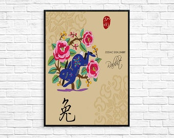 Chinese Zodiac Rabbit Asian wall art Digital Print Poster