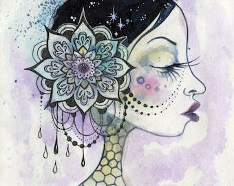 Sweet Tooth - ink drawing, beautiful woman, mandala, flowers, honeycomb, queen bee, small art, watercolors, art by phresha, black hair woman