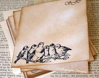 Personalized Vintage Bird Notecards with Envelopes 4 x 4/ Stationery Gift/ Customised Writing Set/ Set of 10