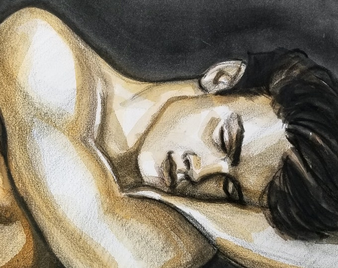 Sleeping Young Man, watercolor on cotton paper 11x14 inches by KennEy Mencher