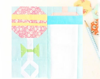 Baby Bottle and Rattle Quilt Block PDF Instant Download Quilt Pattern 6 inch and 12 inch block instructions